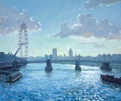 London Silhouette by Charles Rowbotham - Original Painting on Board sized 29x24 inches. Available from Whitewall Galleries
